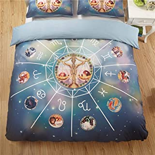TheFit Paisley Bedding Home for Adult W2040 Galaxy Zodiac Libra Duvet Cover Set Microfiber Fabric and Cotton, Twin Queen King Set, 2-3 Pieces (Queen)