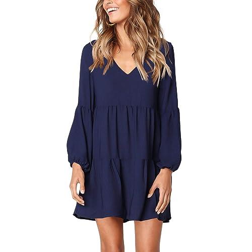 b0c506c3e5e46 Amoretu Women's Long Sleeve Tunic Dress V Neck Loose Swing Shift Dresses