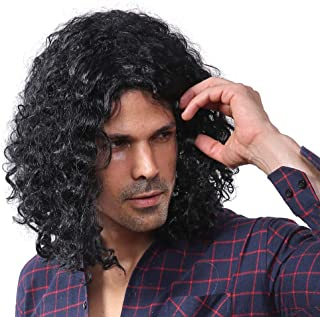 70s Long Black Curly Wig for Men Halloween Cosplay Wigs
