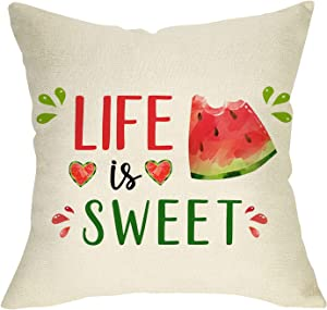 Fbcoo Watercolor Life is Sweet Decorative Throw Pillow Cover, Summer Watermelon Heart Cushion Case Decor Sign, Seasonal Farmhouse Home Square Pillowcase Decorations for Sofa Couch 18 x 18 Cotton Linen