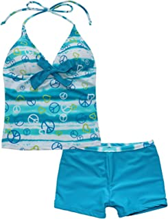 iiniim Big Girls' Teen Bathing Suits Swimsuits Top Halter 2Pcs Tankini Set