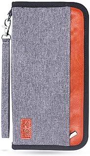 Amidaky Family Passport Holder Travel Passport Wallet RFID Blocking with Removable Wrist Strap (Grey)