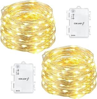 Oak Leaf 60-LED Fairy Lights,2-Pack Battery Operated String Lights,Warm White,9.8ft