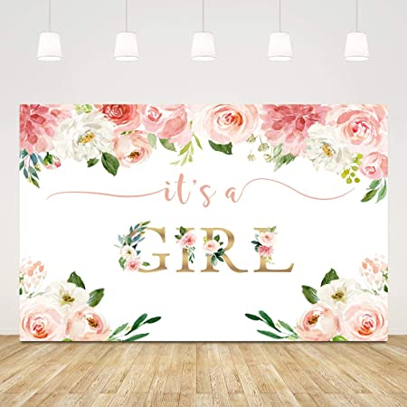 Pink Floral Baby Shower Backdrop Its A Girl Baby Shower Background for Photography Announce Pregnancy Party Decorations Photo Props 7x5ft