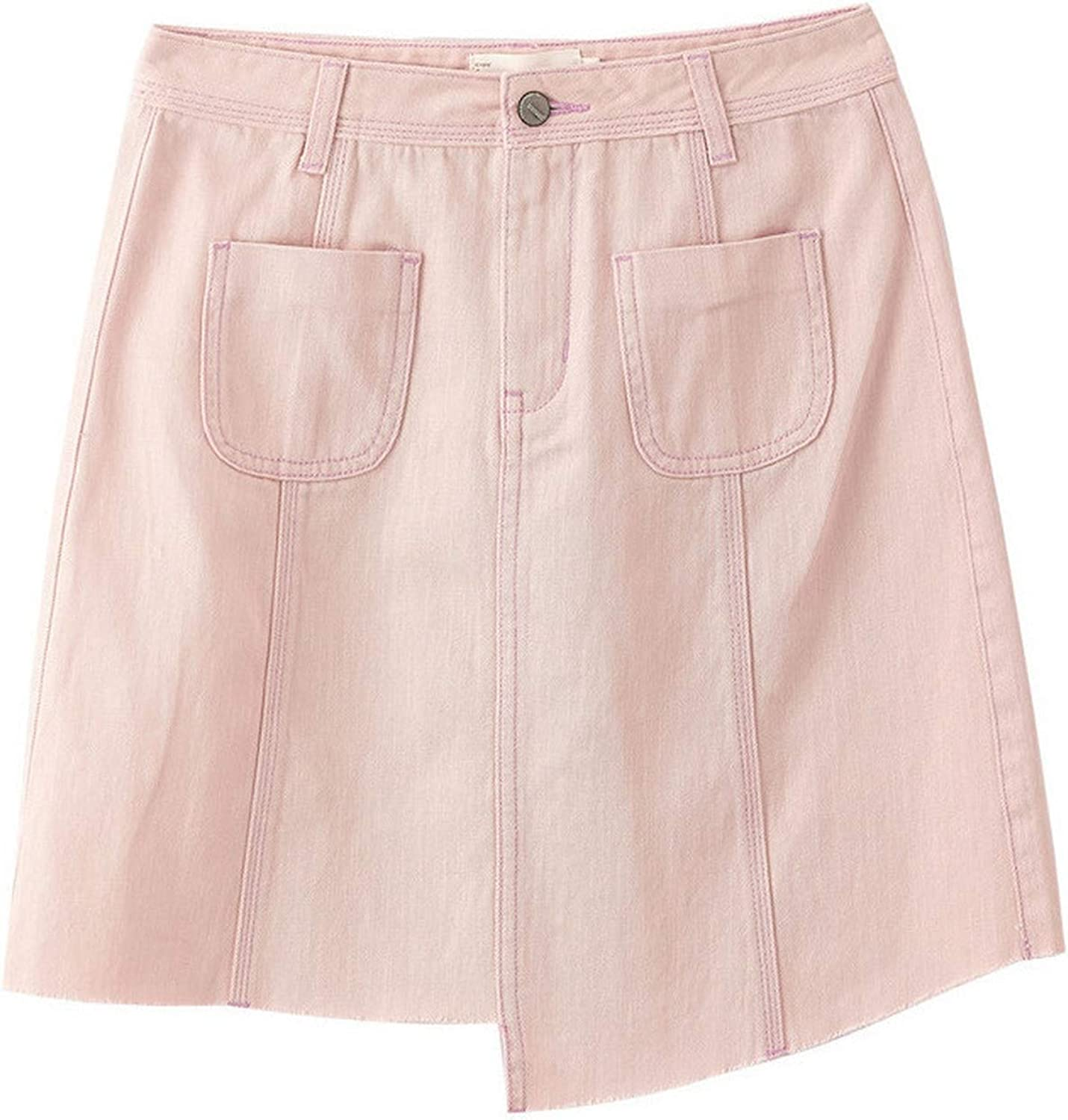 2019 Arrival High Waist Slim Korean Fashion Casual Student Style All Matched Aline Women Short Denim Skirt,Pink,L