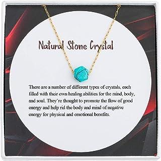 IUNIQUEEN الحجر الطبيعي الخرزة قلادة 18 كيلو الذهب مملوء سلسلة الفولاذ المقاوم للصدأ قلادة قلادة للنساء