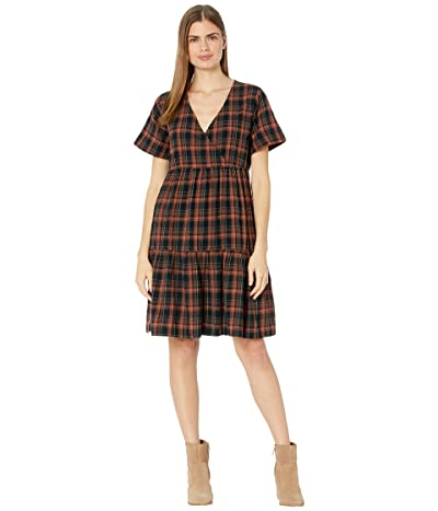 Madewell Plaid Faux-Wrap Short-Sleeve Tiered Mini Dress Women