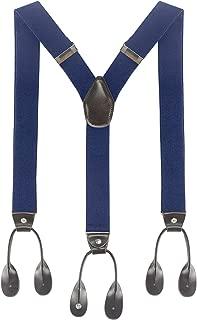 Mens Suspenders Y-Back Leather Trimmed Adjustable Elastic Button End Tuxedo Suspenders