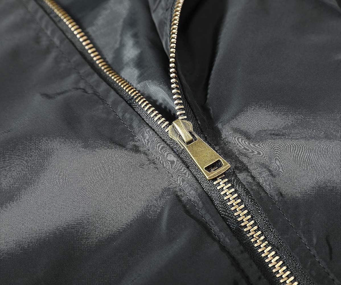 Womens Classic Bomber Jacket Zip Up Short Jacket Spring Lightweight Baseball Coat SolidBiker Jacket
