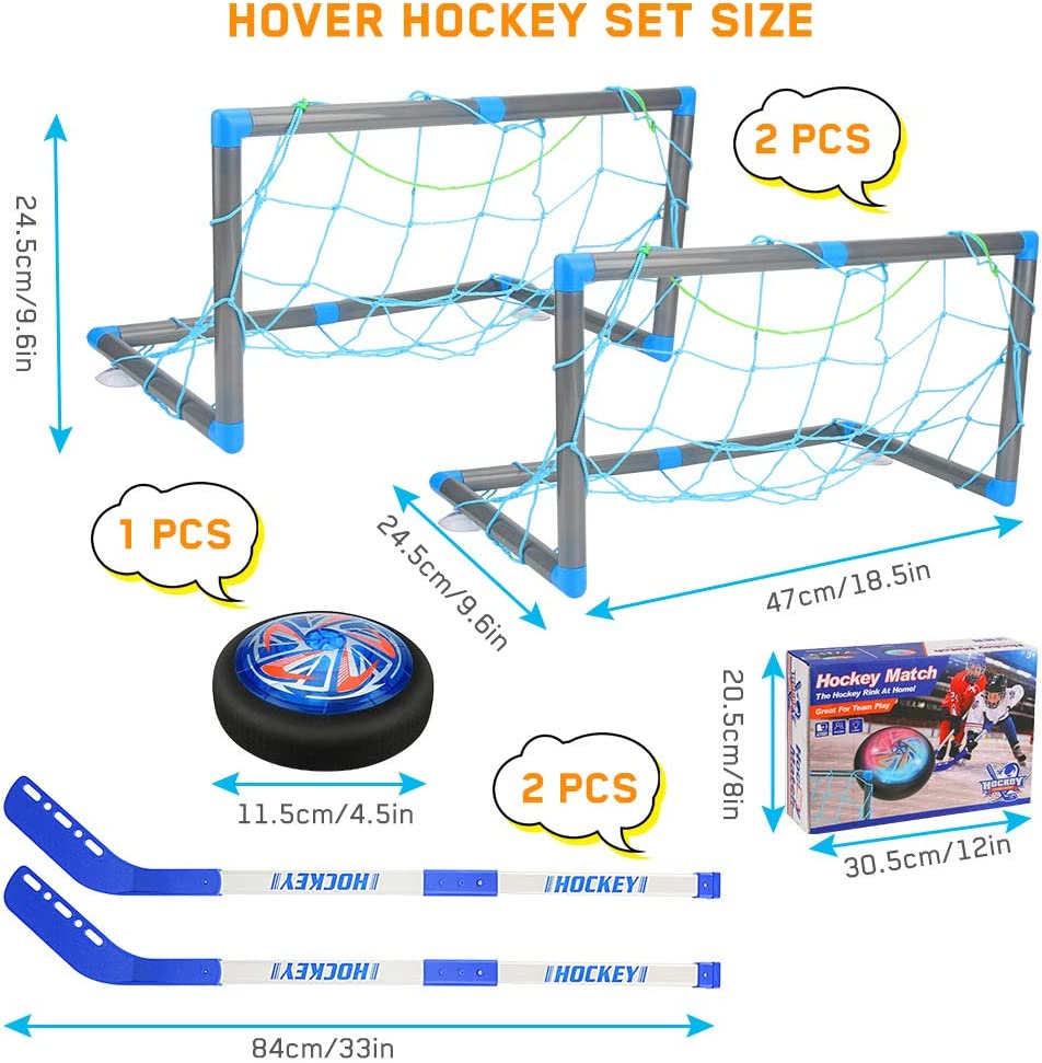 Number-one Hover Hockey Set Boys Toys with Rechargeable LED Hockey Hover, 2 Goals and Sticks, Indoor & Outdoor Air Power Training Ball Hockey Game Sport Toys for Kids Boys Girls Age 4 Years Old : Toys & Games
