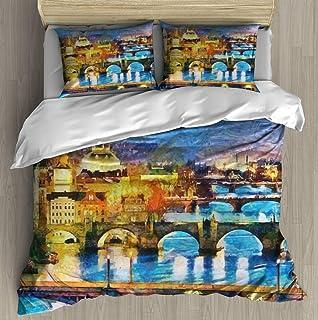 Soft Printed Bedding Set Prague illuminated bridges at night oil painting Duvet Cover Pillow Case Pattern Duvet Cover Sets...
