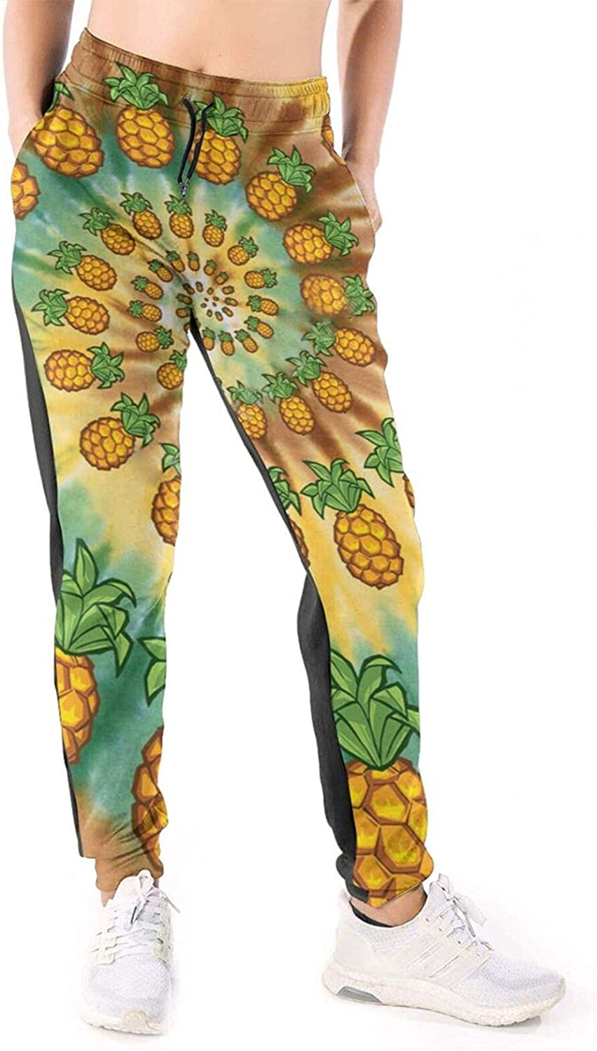 Women Joggers Pants Pineapple Spiral Tie-Dye Athletic Sweatpants with Pockets Casual Trousers Baggy
