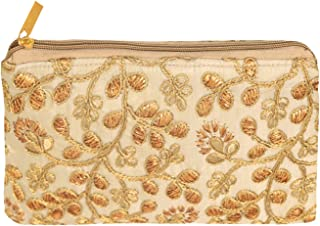 Kuber Industries Embroidery Women Hand Purse Wallet For Party, Wedding, Dating (Cream)