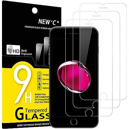 """NEW'C Lot de 3, Verre Trempé Compatible avec iPhone 7 et iPhone 8 (4.7""""), Film Protection écran sans Bulles d'air Ultra Résistant (0,33mm HD Ultra Transparent) Dureté 9H Glass"""