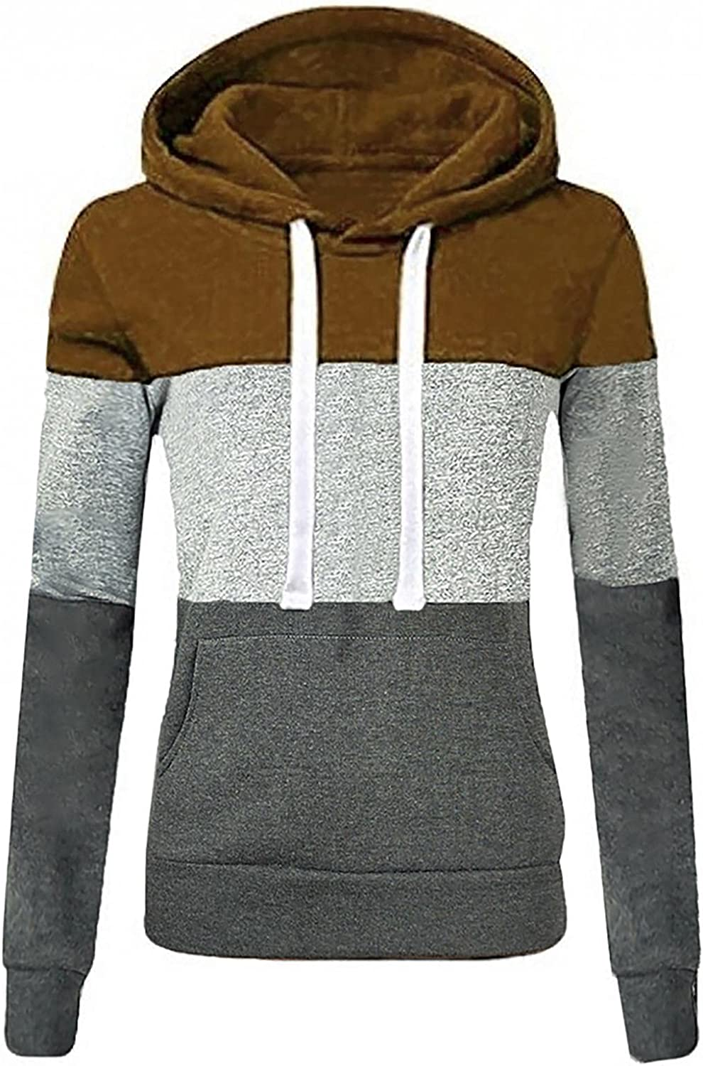 Hoodies for Women Pullover Crew Neck Tunics Shirts Tops Casual Long Sleeve Sweatshirts Loose Soft Striped Print Blouses