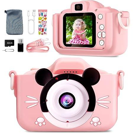 Appareil Photo Enfant-Mini Caméra Numérique Rechargeable Caméscope Photo Vidéo Cadeau pour Filles et Garçons de 3 à 12 Ans,avec 32G Carte/1080P HD/Coque en Silicone Résistant aux Chocs(Rose)