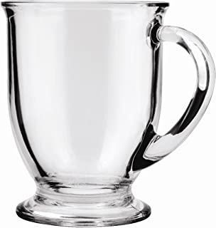 Anchor Hocking Café Glass Coffee Mugs, Clear, 16 oz (Set of 6)