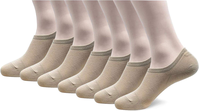 Walkon Women's 7 Pack Casual Running No Show Socks, Non Slip Cotton Flat Low Cut