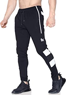 BROKIG Mens Sports Trousers Gym Joggers Tracksuit Bottom Slim Fit Jogging Pants Leg Zip