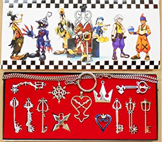 Kingdom Keys Hearts Keyblade Pendant Necklace Set Cosplay Accessories