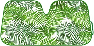 BDK Tropical Leaves Auto Windshield Sun Shade for Car SUV Truck - Balmy Fern - Double Bubble Foil Jumbo Folding Accordion - AS-768