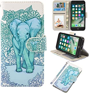 UrSpeedtekLive iPhone 7/iPhone 8 Wallet Case, Premium PU Leather Flip Case Cover with Card Slots & Kickstand for Apple iPhone 7 (2016) / iPhone 8 (2017) -Elephant