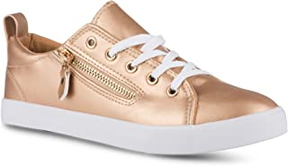 Twisted Women's Alley Faux Leather Fashion Sneaker with Decorative Zipper