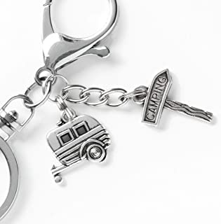 Camper Keychain - Camping Sign and Travel Trailer Charms - Swivel Keyring and Clip - Key Chain Gift - RV Accessories