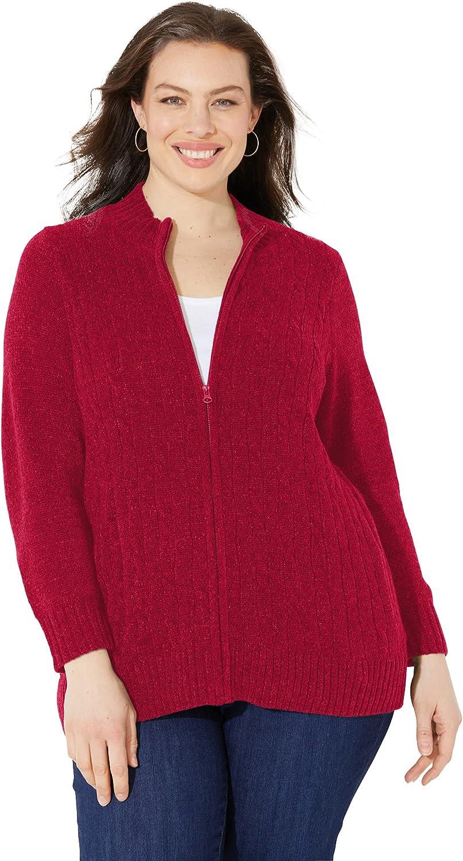 Catherines Women's Plus Size Cozy Chenille Zip Cardigan