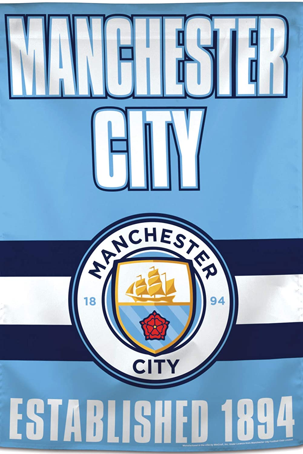 WinCraft Manchester City Football Club greenical Flag, Team Stripe Edition, 28 x40