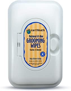 Earthbath Oatmeal & Aloe Grooming Wipes for Dogs and Cats, 100 Count, Vanilla & Almond Scented, Helps Relieve Itching
