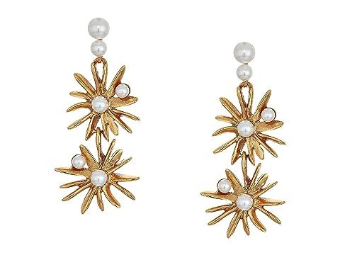 Oscar de la Renta Classic Pearl Starburst Drop Earrings