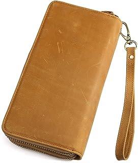 [TIDING(タイディング)] ラウンドファスナー 本革 メンズ 長財布 セカンドバッグ 大容量財布 チェーン付き スマホ収納可