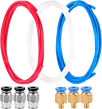 Aokin 2 Pieces Teflon Tube PTFE Blue Tubing 1.5 m//Piece with 4 Pieces PC4-M6 Quick Fitting and 4 Pieces PC4-M10 Straight Pneumatic Fitting Push to Connect for 3D Printer 1.75mm Filament