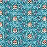 Fox Faces Stoff blau–rbf768–100%
