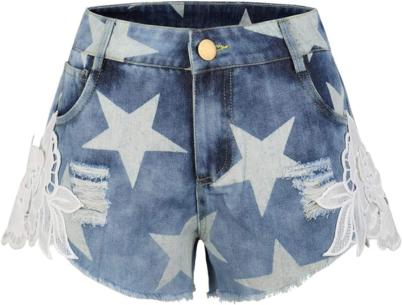 UNICOM91 Summer Denim Shorts Casual Stars Print Lace Flower Patchwork Shorts Jeans Women Plus Size