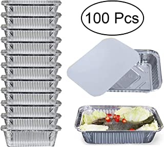 Cocinar y Guardar Recipientes con Tapas Paquete de 12 Bandejas Desechables de Aluminio Grandes Tama/ño 23cm x 23cm para Hornear Congelar