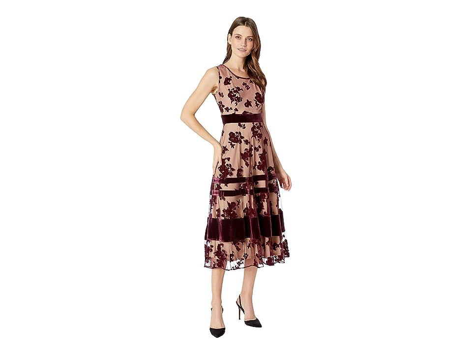 Taylor Sleeveless Velvet Mesh Maxi Dress (Burgundy/Nude) Women