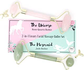 """Miss Pettigrew Luxury 2-in-1 Jade Roller """"The Mermaid"""" and Rose Quartz Roller """"The Unicorn"""" Set - Anti-Aging Facial Rollers and Beauty Tools For Face and Body, Facial Therapy - Handmade Skincare Tool"""