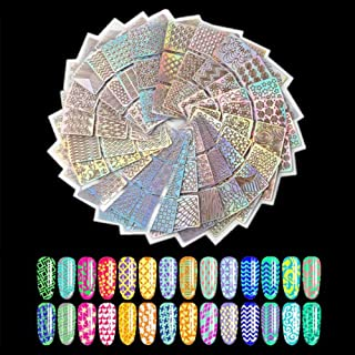 Nail Art Stickers And Decals,144 Pcs 72 Designs Hollow Out Nail Vinyl Nail Stencil Sticker Set,DIY Manicure Decoration Acc...
