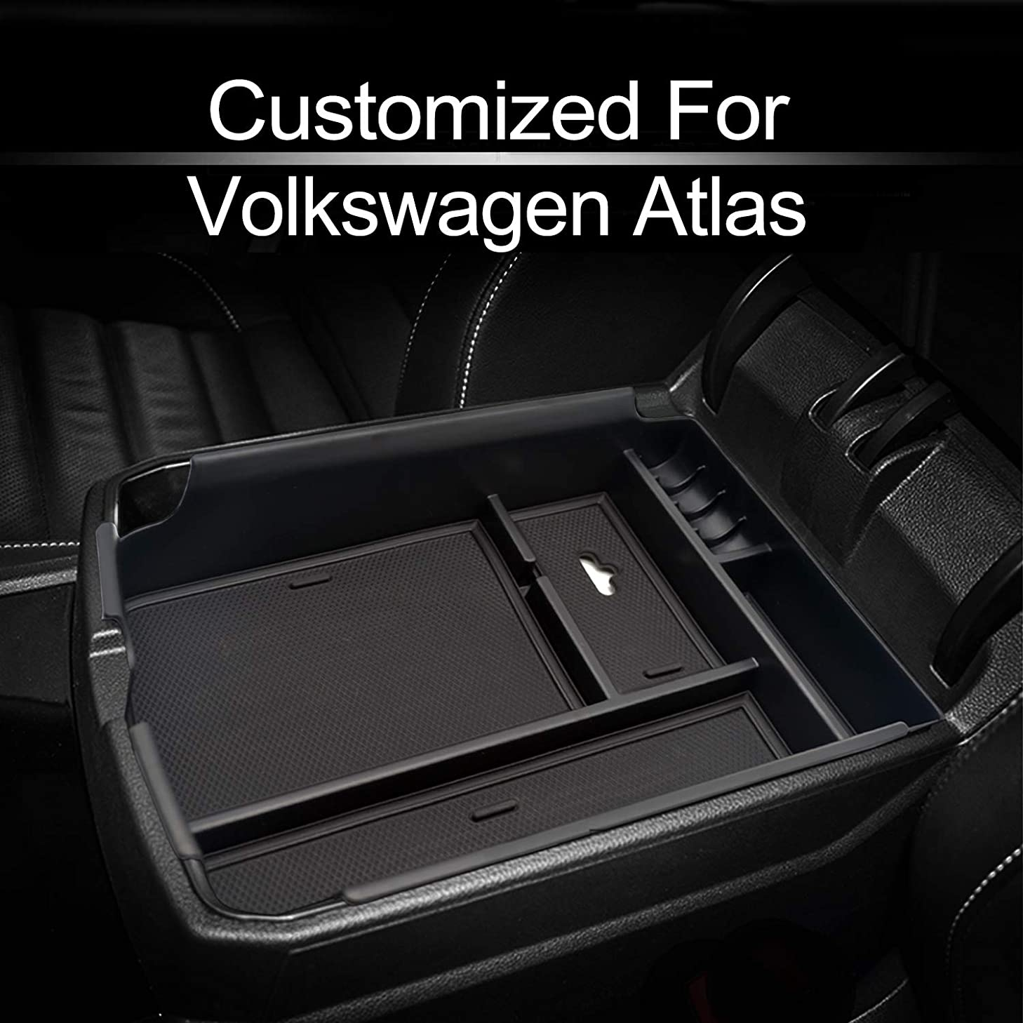 MECHCOS Compatible with fit for VW Volkswagen Atlas 2018 2019 Center Console Organizer Armrest Storage Box Holder Container Divider Glove Pallet Tray
