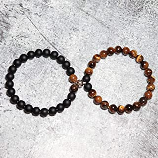 Anxiety Bracelet 2Pcs/Set Paired Couple Bracelet For Lovers Creative Magnet Clasp Matching Braslet Natural Stone Best Frie...