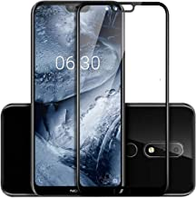 WOW Imagine Tempered Glass for Nokia 6.1 Plus (Black)-Edge to Edge Full Screen Coverage