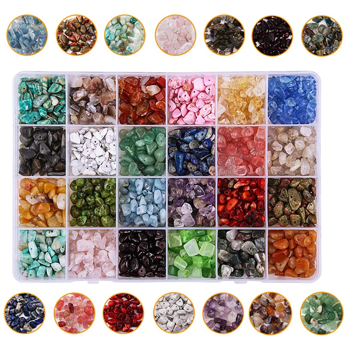 Dushi Natural Irregular Chips Beads for Jewelry Making Gemstone Beads Crystal Pieces Loose Beads DIY Necklace Bracelet(Plastic Box is Included)