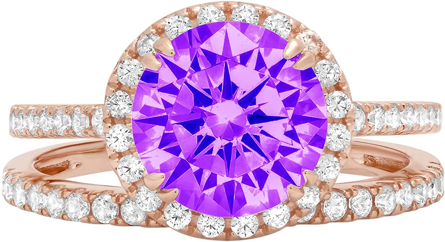 2.66ct Round Cut Halo Pave Solitaire with Accent VVS1 Ideal Natural Purple Amethyst Engagement Promise Designer Anniversary Wedding Bridal Ring band set 14k Rose Gold