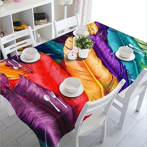 HUANZI Rechteckige Douceur Polyester Tischdecke 3D Bunte Federn Digitaldruck Staubdicht Rechteckige Abendessen Desktop Top Cover, Rectangle - Wide 178cmx Long 274cm