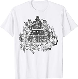 Star Wars Classic Characters Cast Line Art Graphic T-Shirt