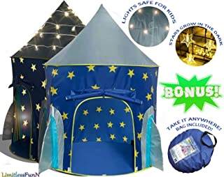 LimitlessFunN Kids Rocket Tent with Star Lights Bonus Carrying Case [ Pop Up Portable Glow in The Dark Stars Blue ] Children Castle Playhouse for Boys Girls Toddler, Indoor & Outdoor Use