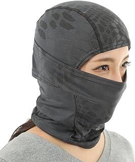 Catsobat サバゲー マスク 3way ファッションタクティカルフェイスマスク サバイバルゲーム 作業用 アウトドア フェイススカーフ アーミー 迷彩 目だし帽 ((黒)ブラック) 2019年版【メーカー30日保証付き】