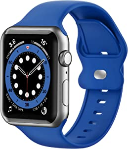 Upgrade Bands Compatible with Apple Watch Band 38mm 40mm 41mm for Women Men-Soft Silicone Replacement Sport Watch Strap for iWatch SE Series 7 6 5 4 3 2 1-Smartwatch Band